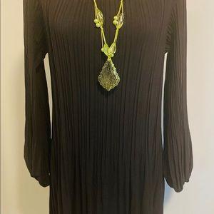 Hilary Radley Black Pleated Dress - Brand New !